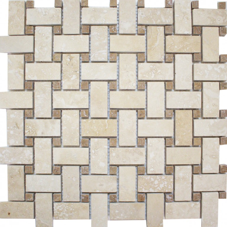 Tarmak-Usa-Stone-Mosaics-Ivory-Basket-Weave-With-Noche-Dot