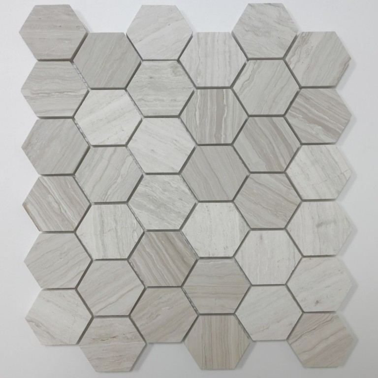 Tarmak-Usa-Stone-Mosaics-Wooden-White-2x2-Honeycomb-Hex