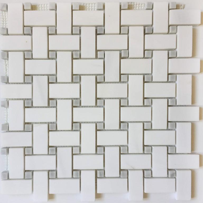 Tarmak-Usa-Stone-Mosaics-Bianco-Venato-Basket-Weave-With-Gray-Dot-Polished