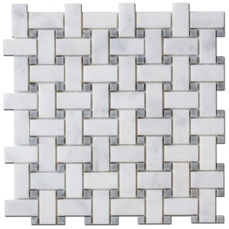 Tarmak-Usa-Stone-Mosaics-Milas-White-Basket-Weave-With-Gray-Dot