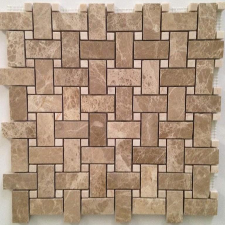 Tarmak-Usa-Stone-Mosaics-Emperador-Basket-Weave-With-Crema-Nouva-Dot