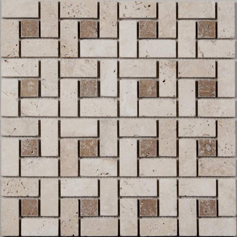 Tarmak-Usa-Stone-Mosaics-Target-Pattern-Ivory-With-Noche-Dot