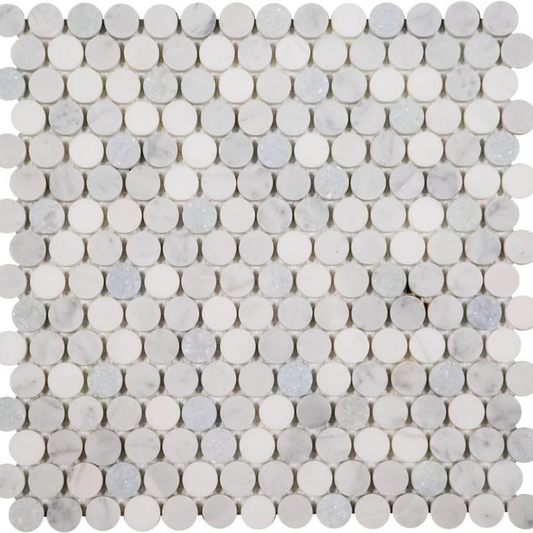 Tarmak-Usa-Stone-Mosaics-Penny-Rounds-Bianco-Venato-Carrara-&-Blue-Celeste