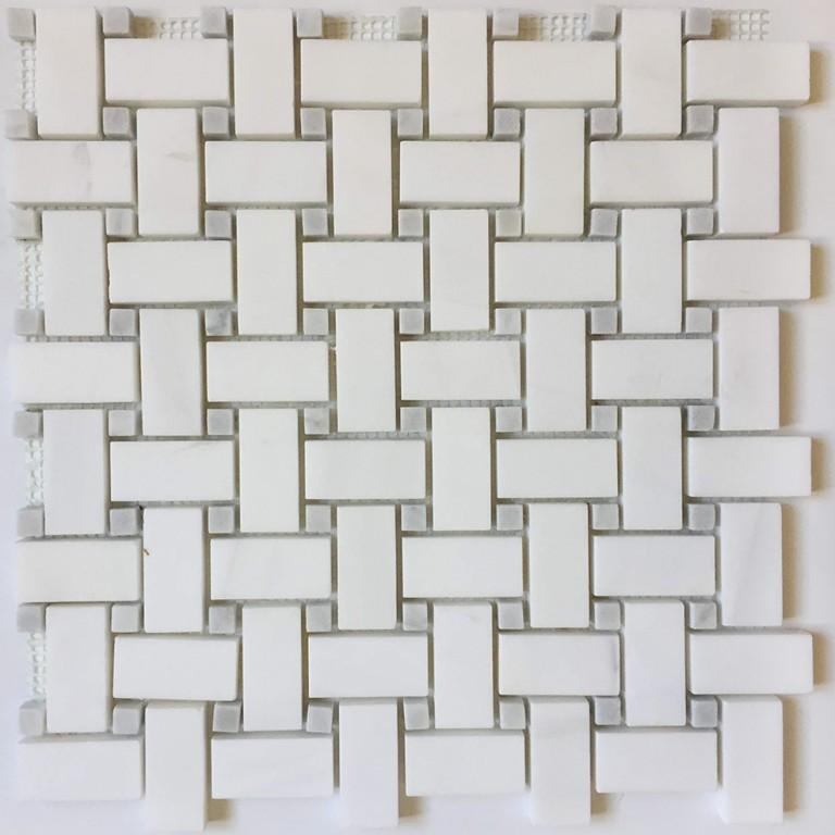 Tarmak-Usa-Stone-Mosaics-Bianco-Venato-Basket-Weave-With-Gray-Dot-Honed