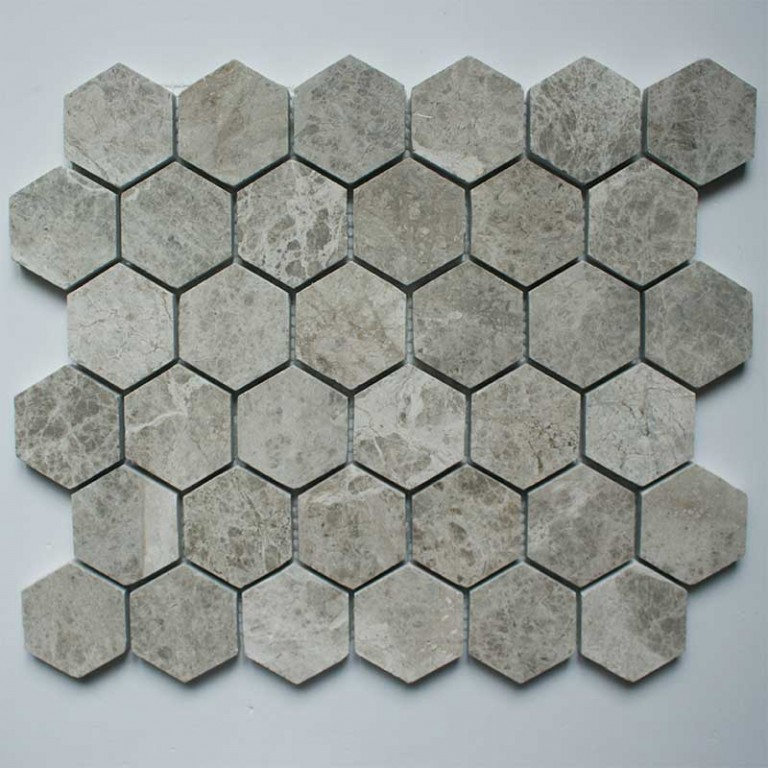Tarmak-Usa-Stone-Mosaics-Silver-Shadow-Honeycomb-Hex-Polished-2x2